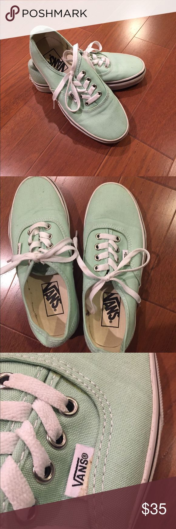 Mint green Vans sneakers Wore it out of the house like once or twice, like new condition! A couple imperfections (pictured above) but besides that, the soles and insides are in new condition. Vans Shoes Sneakers