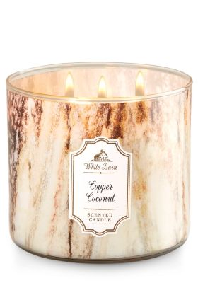 Copper Coconut 3-Wick Candle - Raw Coconut, Sea Salted Shells, Soft  Amber