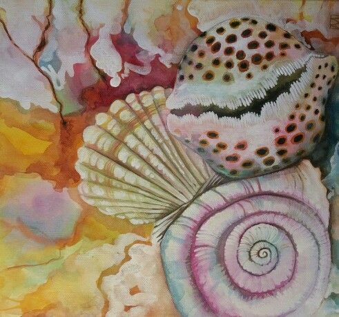Rockpool - Watercolour on canvas.  By me Annette Mansfield