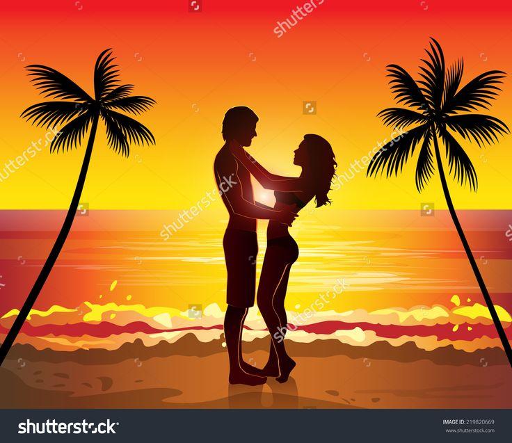 Romantic couple kissing, sunset exotic palms tree paradise beach, vector illustration