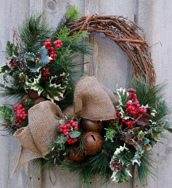 Christmas Wreath, Holiday Décor, Woodland Christmas, Rustic Jingle Bells, Winter Wreath