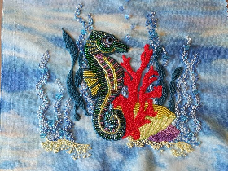 Beaded Seahorse and French Knot Embroidery . Notebook Cover .