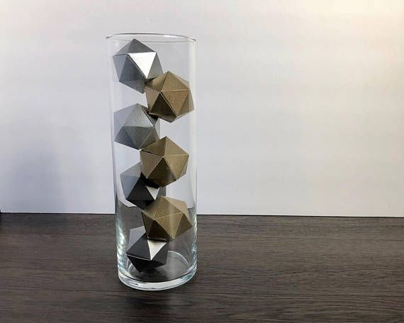 Metallic Paper Geometric Icosahedron Tall Glass Vase Centerpiece Mantel Gold Silver Glass Vases Centerpieces Tall Glass Vases Centerpiece Tall Glass Vases