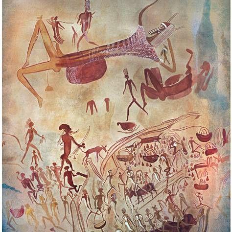 Prehistoric cave paintings at Diana's Farm near Rusape, Rhodesia (now Zimbabwe). | © Paul Almasy