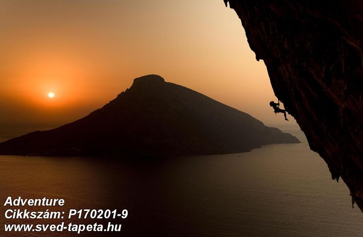 Climbers on a limestone crag at sunrise with the Greek island Telendos in the background. ☞ #wall #decor #wallpaper #design #tapeta #foto #poster