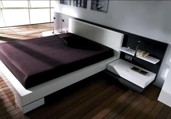 Dormitorio cod d022 cama mesas de luz y fondo respaldo for Mesa de luz flotante