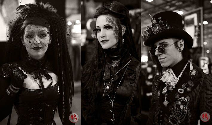 Goth fashion -- Often black clothing and accessories reminiscent of dress from gothic novels and art.