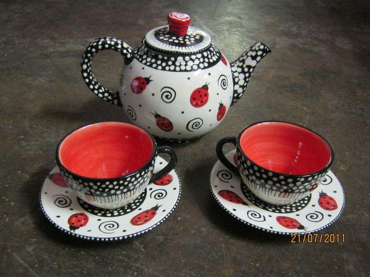 Ceramic painted Ladybug tea set