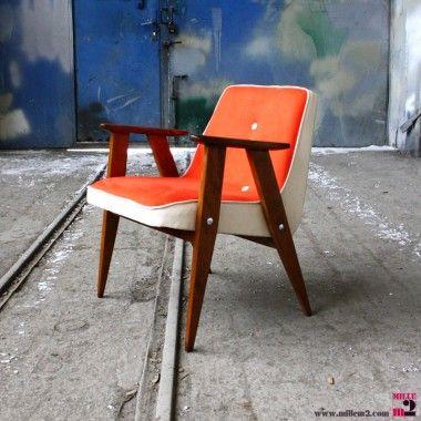 Fauteuil vintage orange des années 60 Chierowski