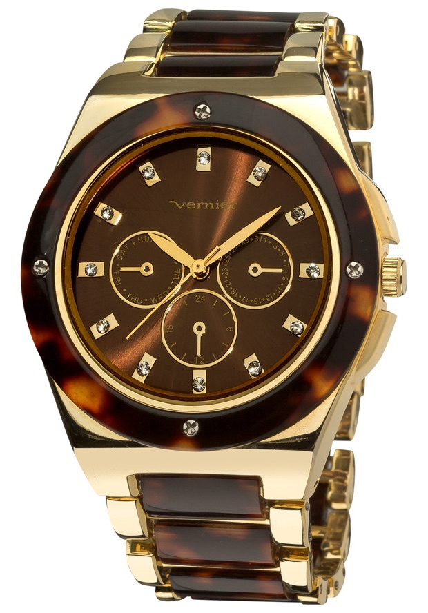 Price:$32.00 #watches Vernier VNR11019, Vernier Ladies Fashion Gold and Tortoise Resin watch features an resin accented bezel and matching center links. The dial dazzles with genuine crystal stone hour markers, with a Chrono-look design.