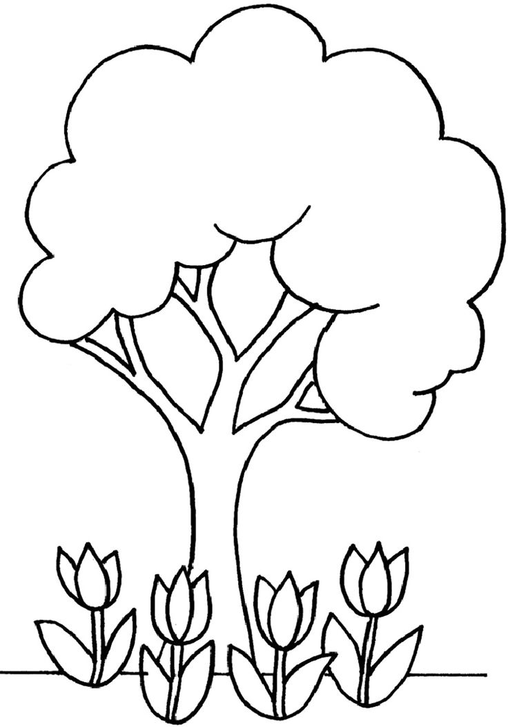 little tree and flowers coloring for kids tree coloring pages kidsdrawing free coloring pages online