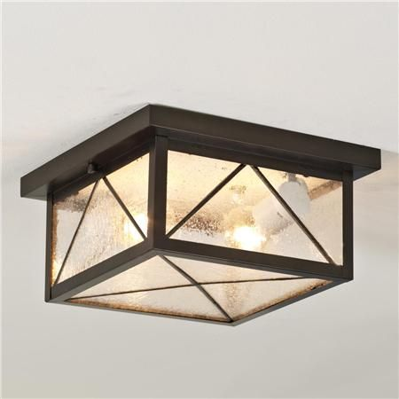 """Still Waters Indoor/Outdoor Ceiling Light Indoors or out, clear seeded-glass forms a symmetrical harlequin pattern. Bronze metal. 2x40 watts. Weight: 8 lbs. (5""""Hx10""""W) DAMP Location Rated.  $169"""