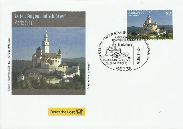 """Zur heutigen Ausgabe der Briefmarke """"Burgen und Schösser: Marksburg"""" hat die Deutsche Post AG einen Schmuckumschlag gedruckt. Der Beleg war heute beim """"Erlebnis: Briefmarken""""-Team auf der Marksburg..."""