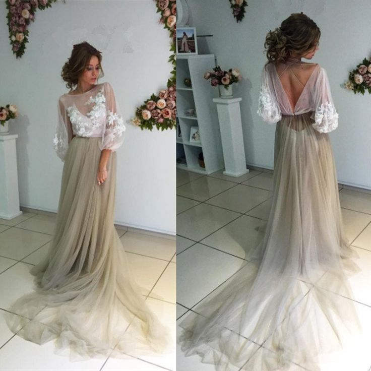 $199.99 3/4 Length Sleeves Tulle Prom Dress with Train, 2017 Long Prom Dress