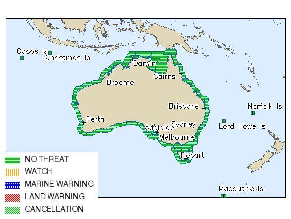 National Tsunami Summary map