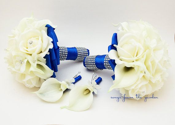 Royal Blue Wedding Flower Package Bridesmaid Bouquets Groomsman Boutonnieres Silk Stephanotis Real Touch Roses Real Touch Calla Lilies
