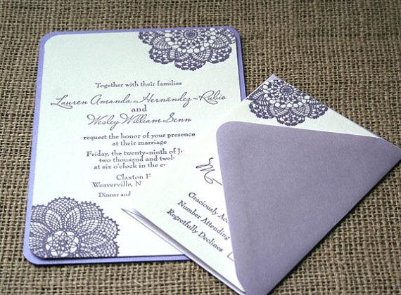 Lace Letterpress Rustic Wedding Invitation by sofiainvitations, $7.00