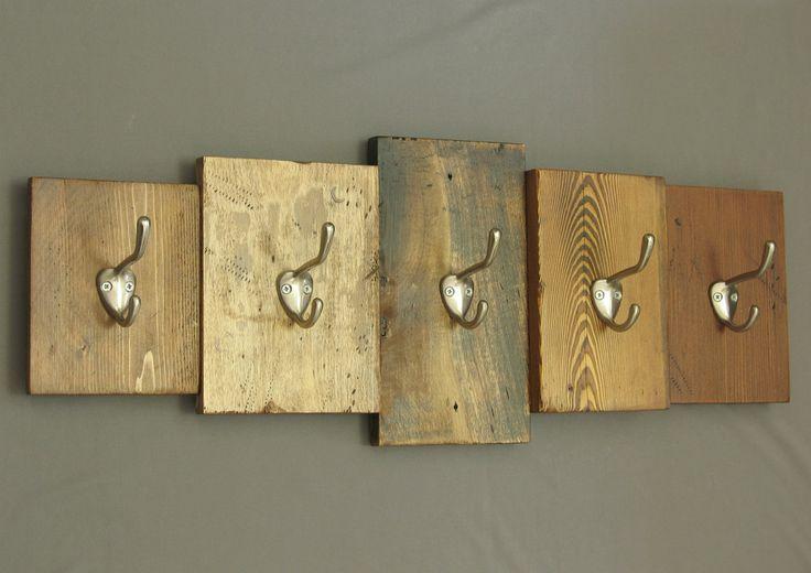 rustic wooden coat rack, reclaimed wood cabin decor, wall-mounted key rack; hooks, coat hooks, brushed nickel hooks, entryway decor by shiningcity on Etsy