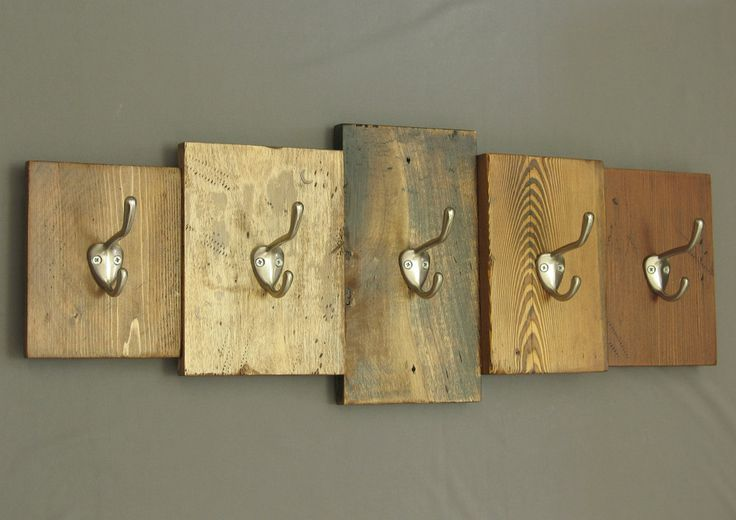 rustic wooden coat rack, reclaimed wood cabin decor, wall-mounted key rack; hooks, coat hooks, brushed nickel hooks, entryway decor by shiningcity on Etsy