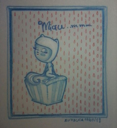 miau_mmm...Dibujando con lápices de colores, noche antes de dormir. Marzo 2013.