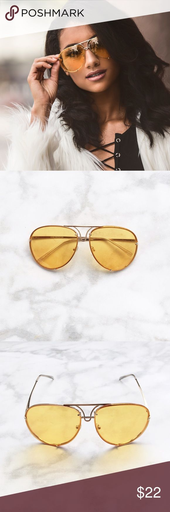 YELLOW LENS AVIATOR SUNGLASSES ✨RESTOCK ALERT! PRICE FIRM!! These sleek and simple oversized aviator sunglasses features a gold metal frame with mustard yellow oversized lenses. Adjustable nose pads.PRICE FIRM!! Clear mustard yellow colored tinted lens. ALL PICTURES TAKEN EXCLUSIVELY FOR STYLE LINK MIAMI AND SHOWING ACTUAL PRODUCTS. PRICE FIRM.  Gold Trim Aviator style Oversized fit Approximate measurements:  Full width 5.75 in Individual lens size: 2.5in W, 2.25 in L Side bar 5.5 in. Style…