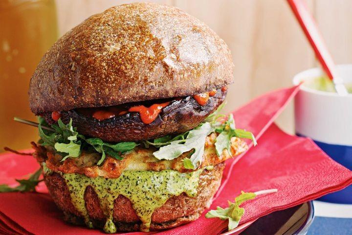 Vegetarian haloumi hash burgers with kale aioli