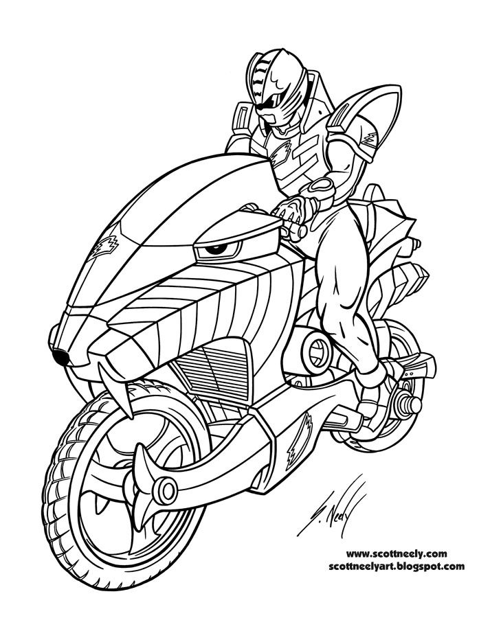 The cool motorcycle of Power Rangers Jungle Fury coloring