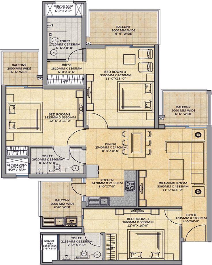 50 best house images on pinterest house floor plans 3 4 for Apartment plans in ghana