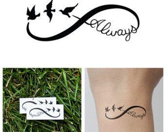 Infinity Symbol Set  Temporary Tattoo Set of 6