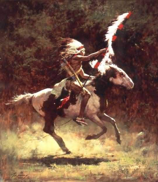 Howard Terpning : Sioux Flag Carrier. Absolutely beautiful. The patched pattern of the horse and the tension in the body of the warrior.