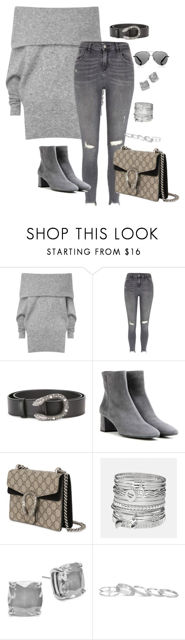 """Loving grays"" by stylemexo on Polyvore featuring Acne Studios, River Island, Gucci, Prada, Avenue, Kate Spade, Kendra Scott and Victoria Beckham"
