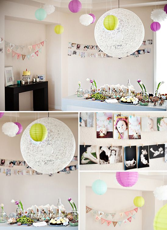 duh! why haven't I thought of this for a birthday party... string photos up! we did this at our wedding.