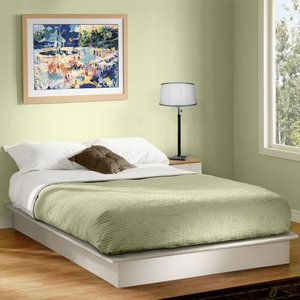 South Shore Basics Queen Platform Bed with Molding, White