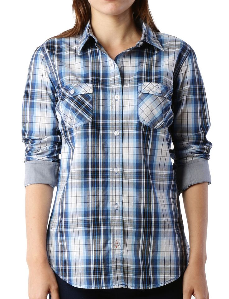 Premium Womens Lightweight Soft Cotton Long Sleeve Plaid