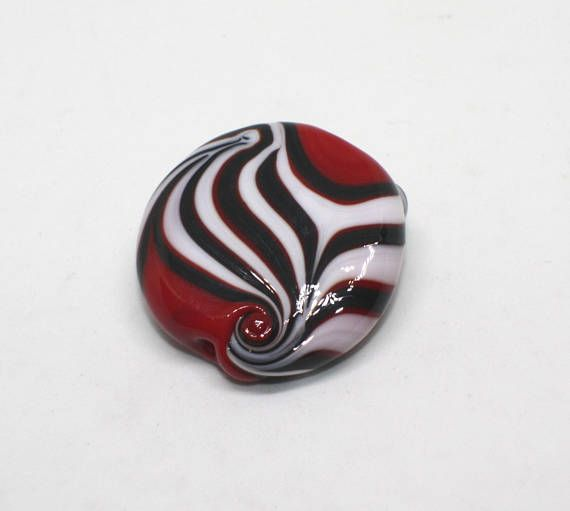 Focal Bead 30 mm Burgundy Red White Black Flat Oval