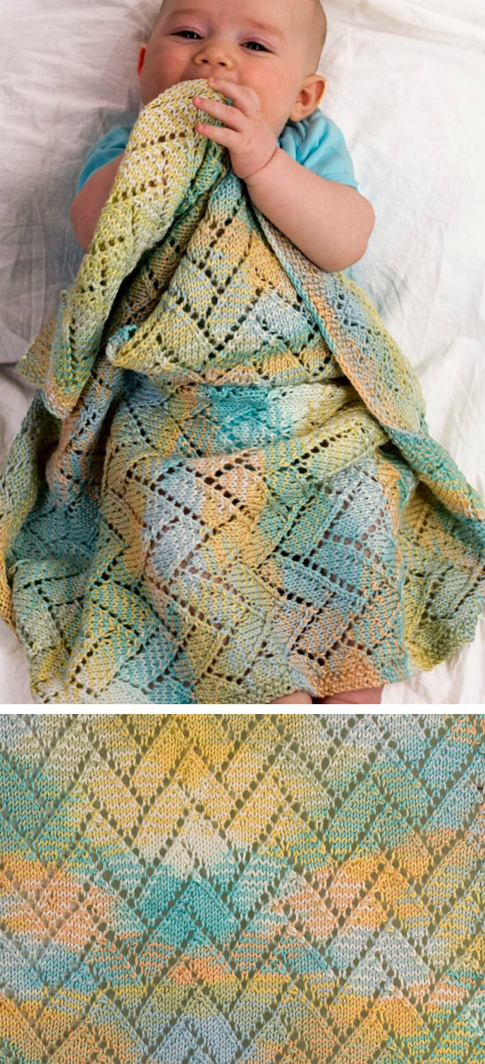 Free Knitting Pattern for A Tisket A Tasket Baby Blanket - Baby blanket in Block Lace Stitch Pattern. Blanket measures 21″ x 30″. Deisgned by Shannon Dunbabin for Cascade Yarns