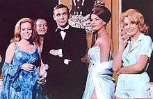 From left: Luciana Paluzzi, Martine Beswick, Sean Connery, Claudine Auger, and Molly Peters.