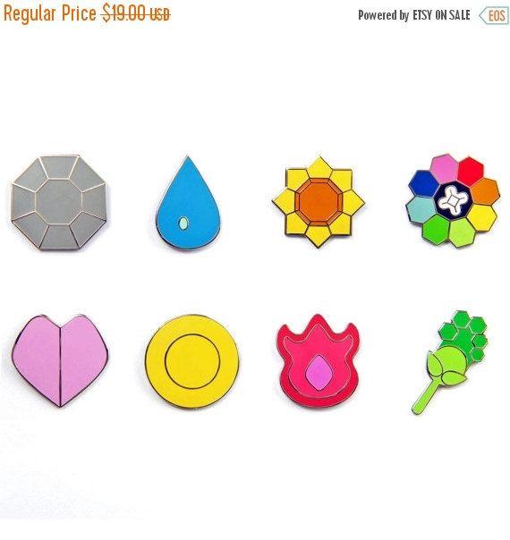 Chaque badge est à peu près 1 de hauteur, la largeur varie en fonction de l'insigne.  Ce sont des Badges Pokemon sur-mesure, conçu comme métal épingles pour aller sur un chapeau, veste, sac à dos, ou n'importe où vous voulez les montrer !  C'est pour tous les 8 badges de la région de Kanto.  Badge de Boulder Insigne de la cascade Badge de tonnerre Insigne de larc-en-ciel Insigne de lâme Badge marais Badge volcan Badge terre