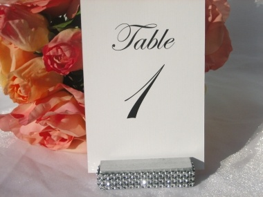 silver wood table number holders trimmed with a crystal wrap set of 10