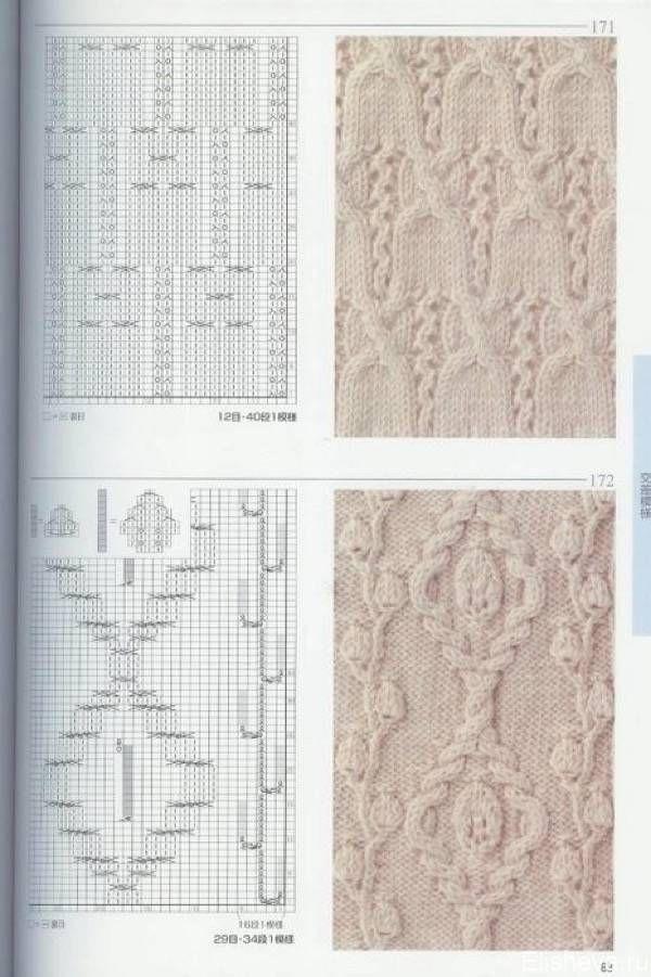 Красивые узоры вязания спицами со схемами ТОП-30: араны, ажур, листья, косы