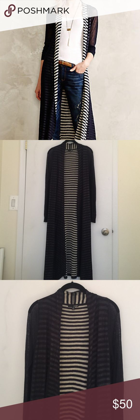Anthropologie Eclipsed Stripe Duster This transitional cardi is a cut above your standard long sleeve layer. A hint of striped lining and an extended length make this piece a wardrobe go-to. Navy. Open front. Long sheer sleeves. Excellent brand new condition, never worn. No pulls pills or stains. By Anthro brand Ladakh. Anthropologie Sweaters
