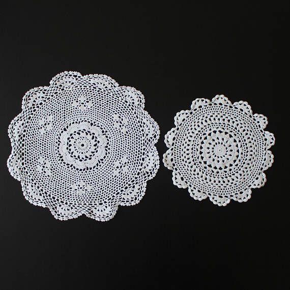 Pair of vintage crochet doilies 100% cotton white colour