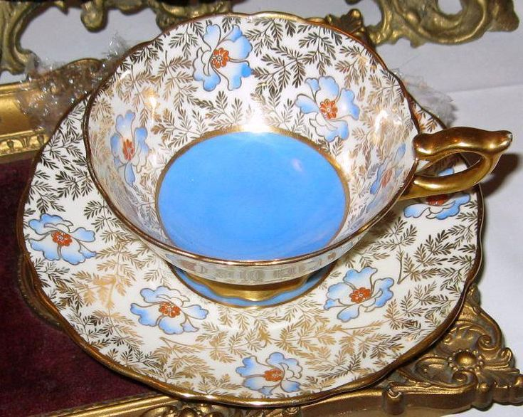 Royal Stafford HPT Blue and Red Beaded Floral Gold Chintz Tea Cup and Saucer  | eBay