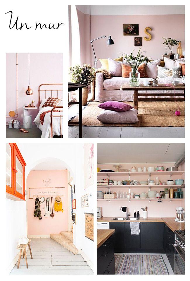 1000 id es propos de murs roses sur pinterest murs for Peinture chambre rose poudre