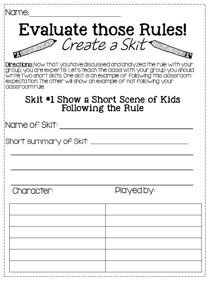 evaluate those rules  create a skit to demonstrate an example of the rule