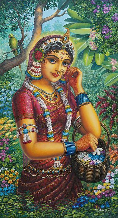 Radharani In Garden Canvas Print / Canvas Art by Vrindavan Das