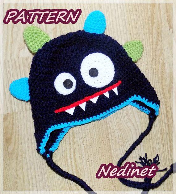 SALE Monster crochet hat  PATTERN pdf blue by NedinetCreations