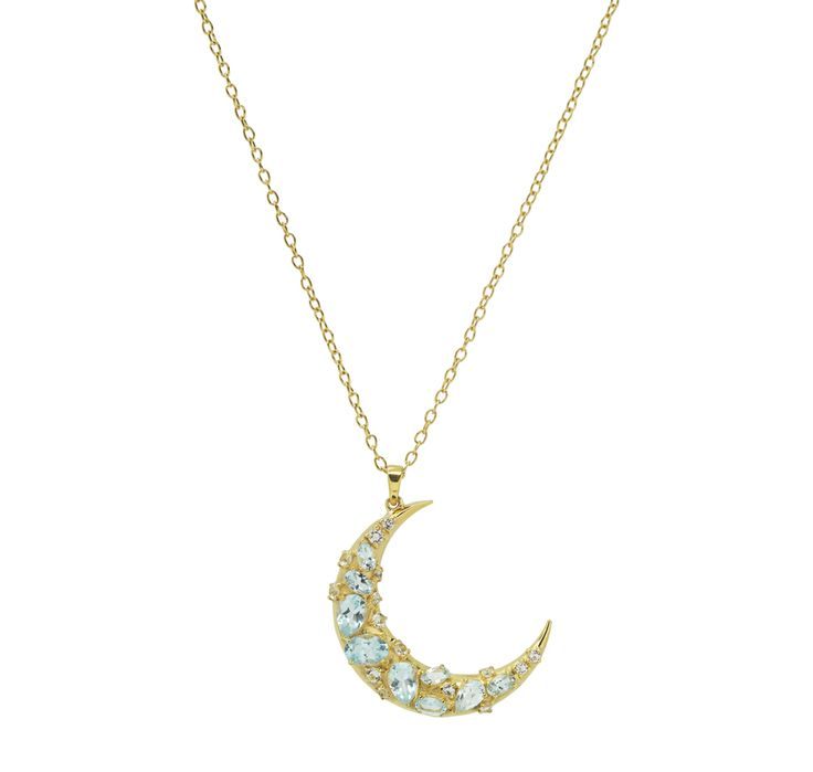 Buy Rarities by Carol Brodie Sky Blue Topaz Sterling Silver & Yellow Gold Plate Half Moon Pendant with Chain-Jewellery-Pendants-Online...