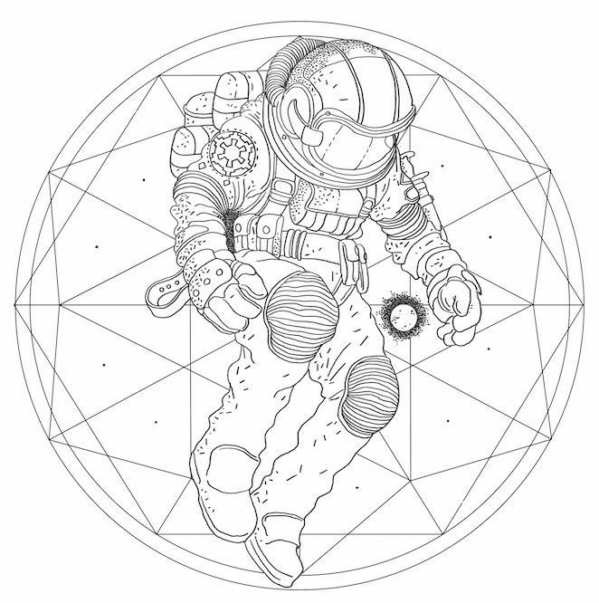 astronaut - coloring page