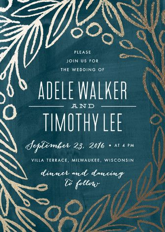 """""""Midnight Foliage"""" - Floral & Botanical, Rustic Foil-pressed Wedding Invitations in Deep Teal by Alethea and Ruth."""